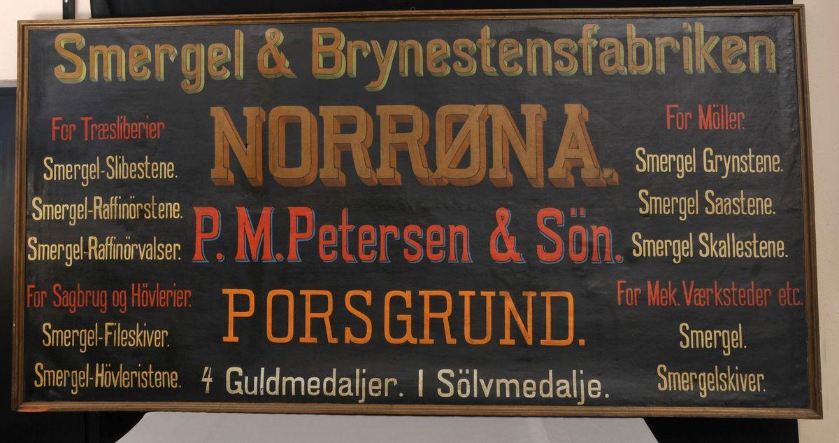 Norrøna Smergel & Brynestensfabrik i Porsgrunn reklamerte med et stort utvalg av bryner.