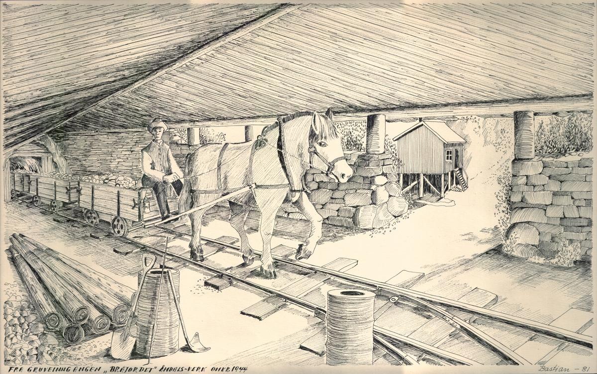 """""""Bråjordet"""" Åmdals Verk, omkring 1944. Teikna av Birger Bastiansen"""