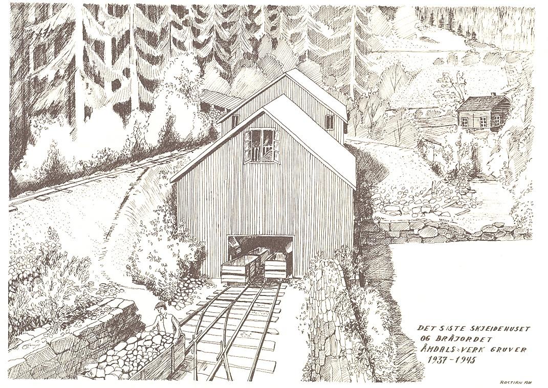 Birger Bastiansen har teikna skeidehuset slik det såg ut kring 1940