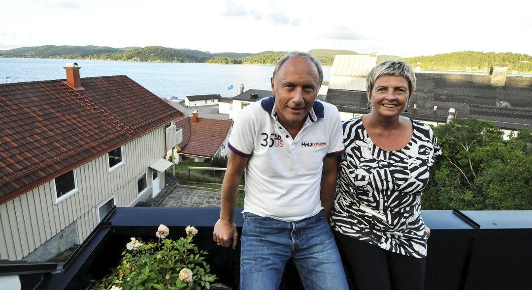 Liv og Øyvind Sanderød la ut på svømmeeventyr  mellom holmene i Eidangerfjorden. Foto: Edle Eidbo-Hansen, TA