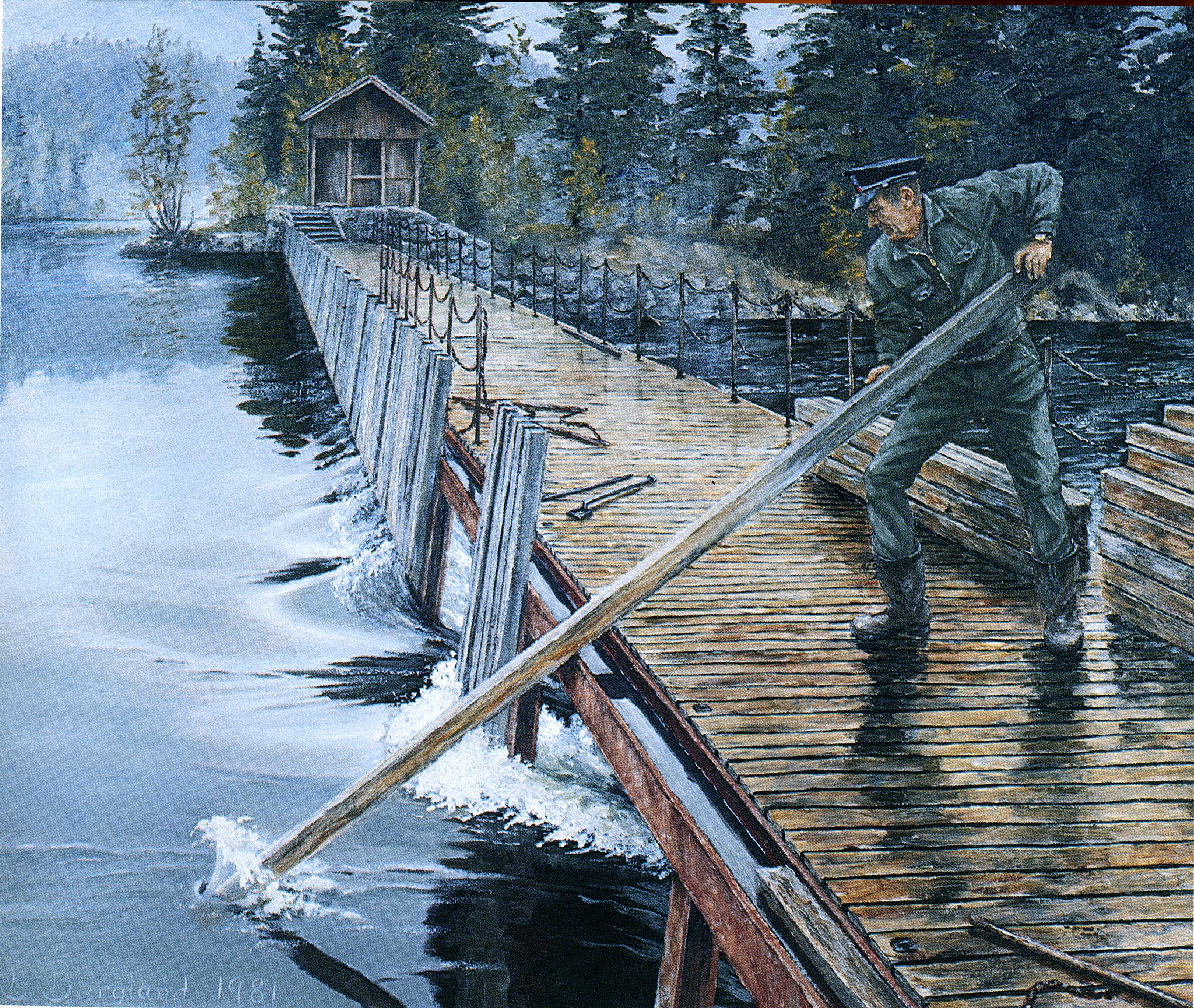 NÅLEDAM: Slusevokterne hadde arbeidet med å sette og å trekke nåler når dammene skulle åpnes eller lukkes. Slusevokter Birger Bergland har malt bildet av Ingvald Straume på dammen i Kjeldal sluse.