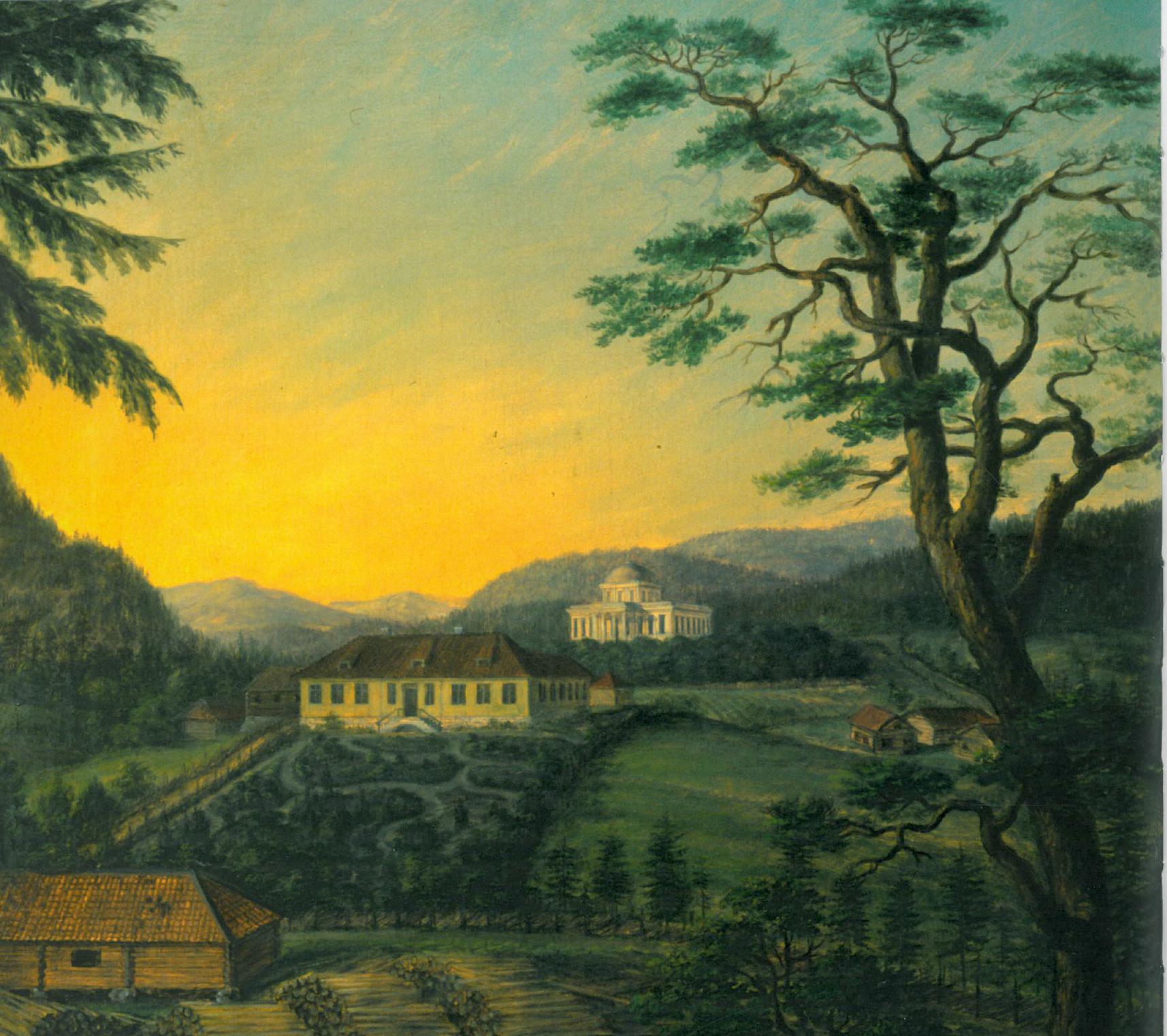MALERI FRA 1824: Dette maleriet viser Ulefos Hovedgaard i 1824, bildet viser et utsnitt av Jacob Munchs maleri. Foto: Tom Riis