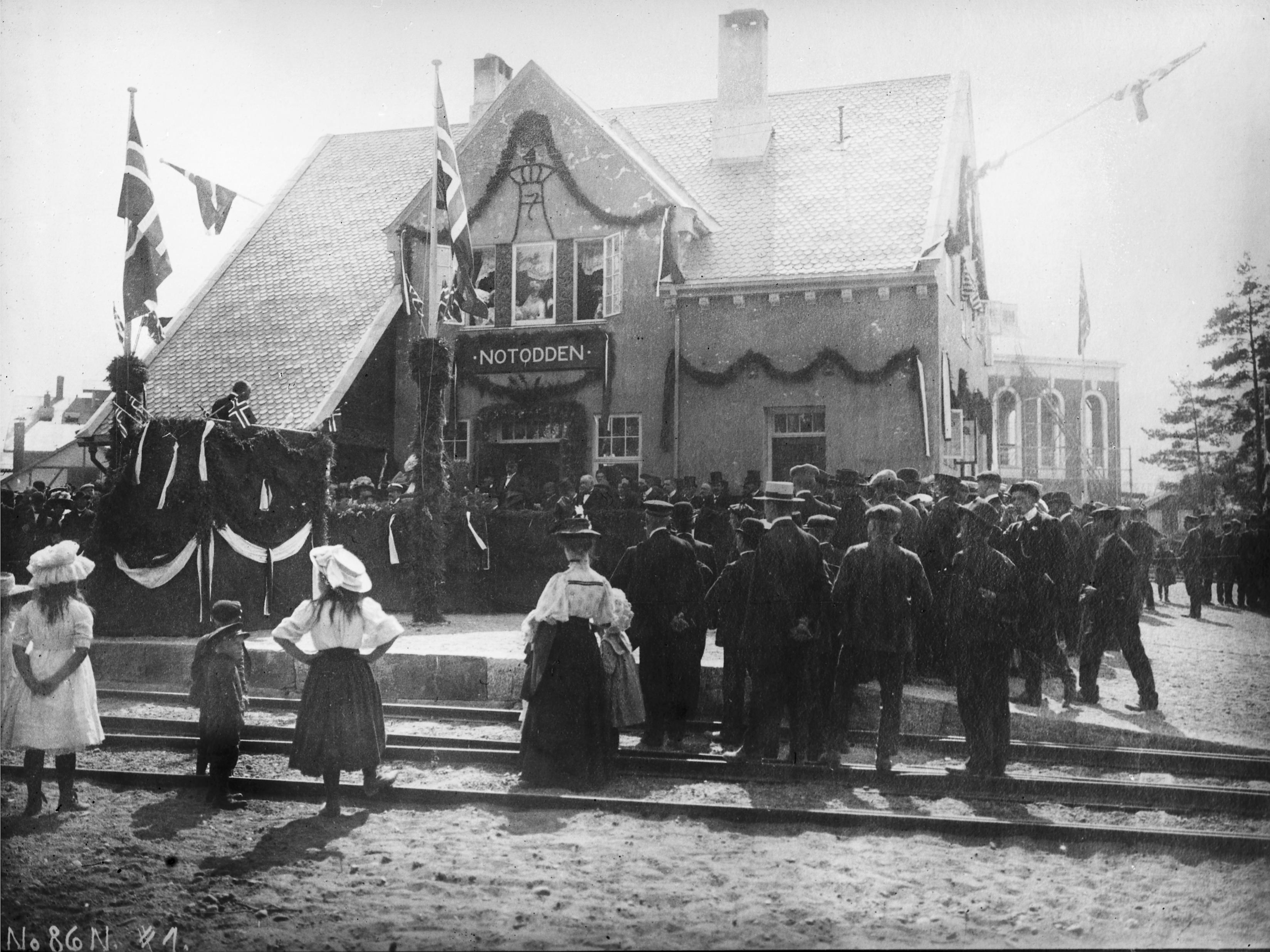 Notodden tidlig på 1900 tallet Foto: Norsk Industriarbeidermuseum