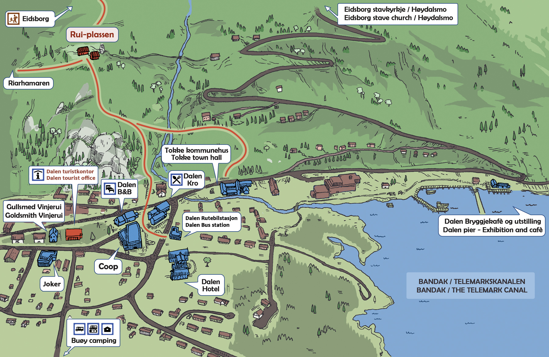 Kart over turveg frå Dalen til Riarhamaren
