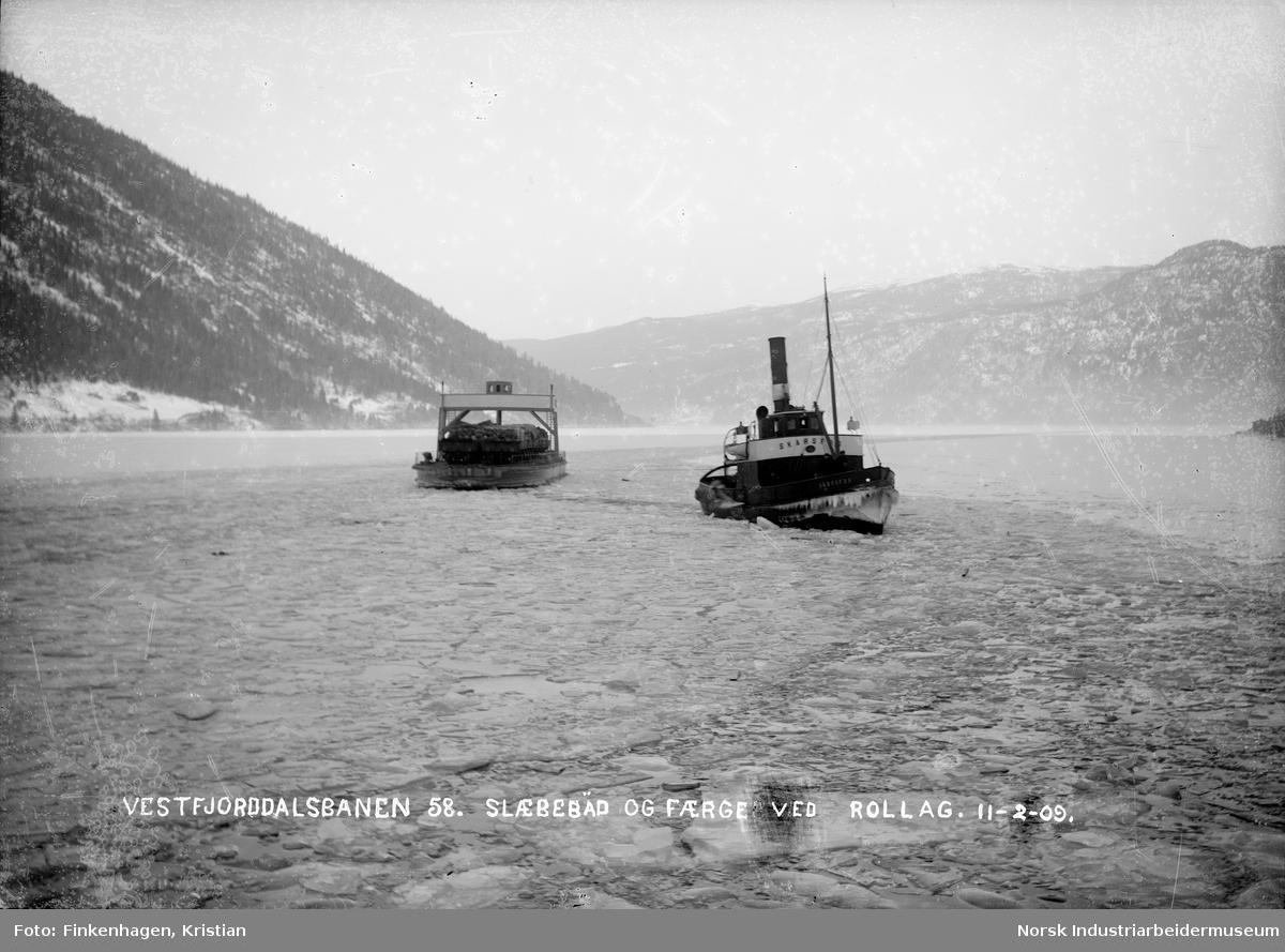 Skarsfoss og ferge med last på Tinnsjøen ved Mæl Foto:NIA