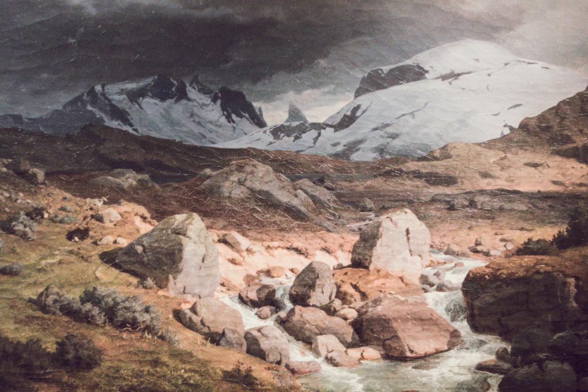 """Utsnitt av Hans Gude, """"Høyfjell ved Skagastølen"""" (1844). Foto: Den Norske Turistforening."""