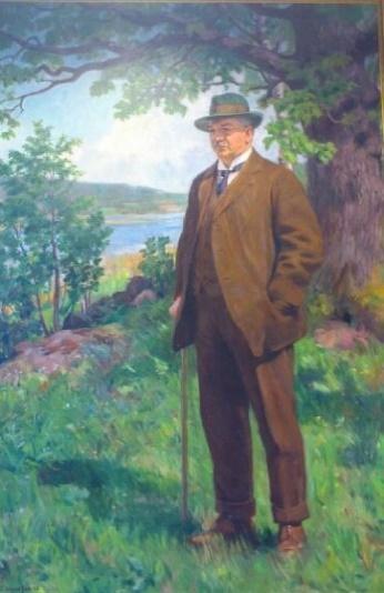 Gudmund Stenersens maleri av Sam Eyde som bonde ved Borrevannet (1918)