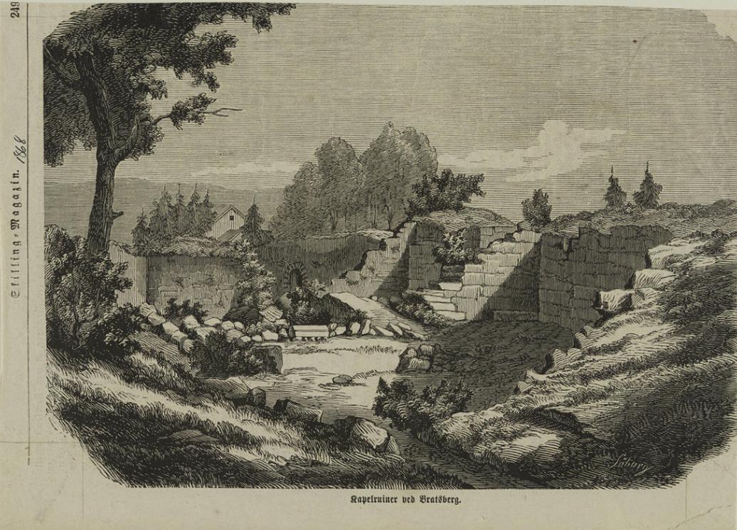 Tegning av Kapitelberget fra 1868. Foto: Riksantikvaren