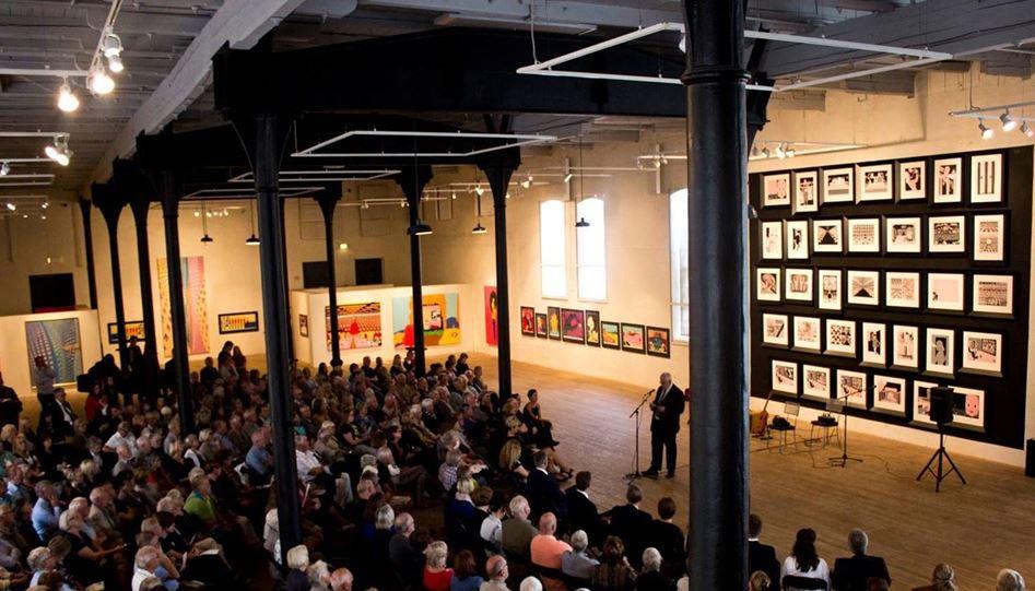 Fra åpning av Pushwagner-utstilling og den industrihistorisk utstillingen Gnisten i 2013 (Foto NIA)
