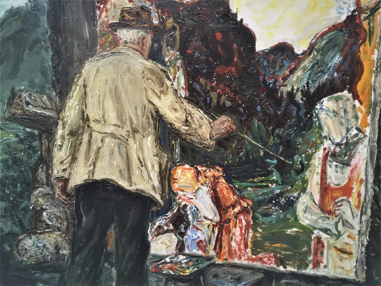 Harald Kihle har skildra kunstnarvenen Søren medan han måla drapet på Storegut. Måleri frå 1954, Vinje biletgalleri. Foto: Anne Gundersen
