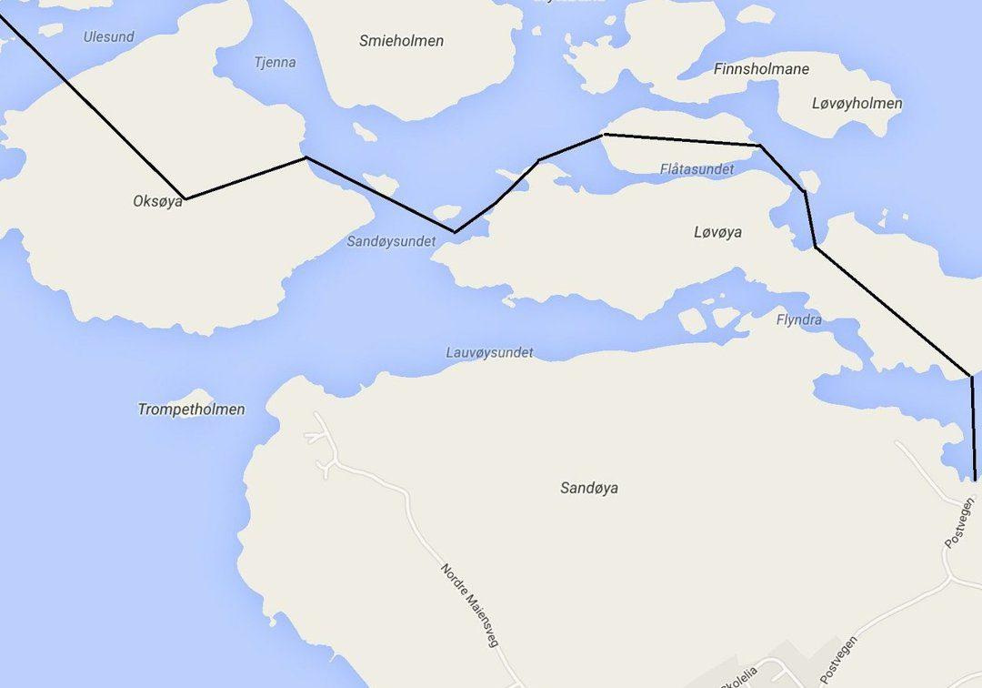Ruta Ulesund – Oksøya – Løvøya – Klokkerholmen – Løvøya – Sandøya tar drøye 2 timer