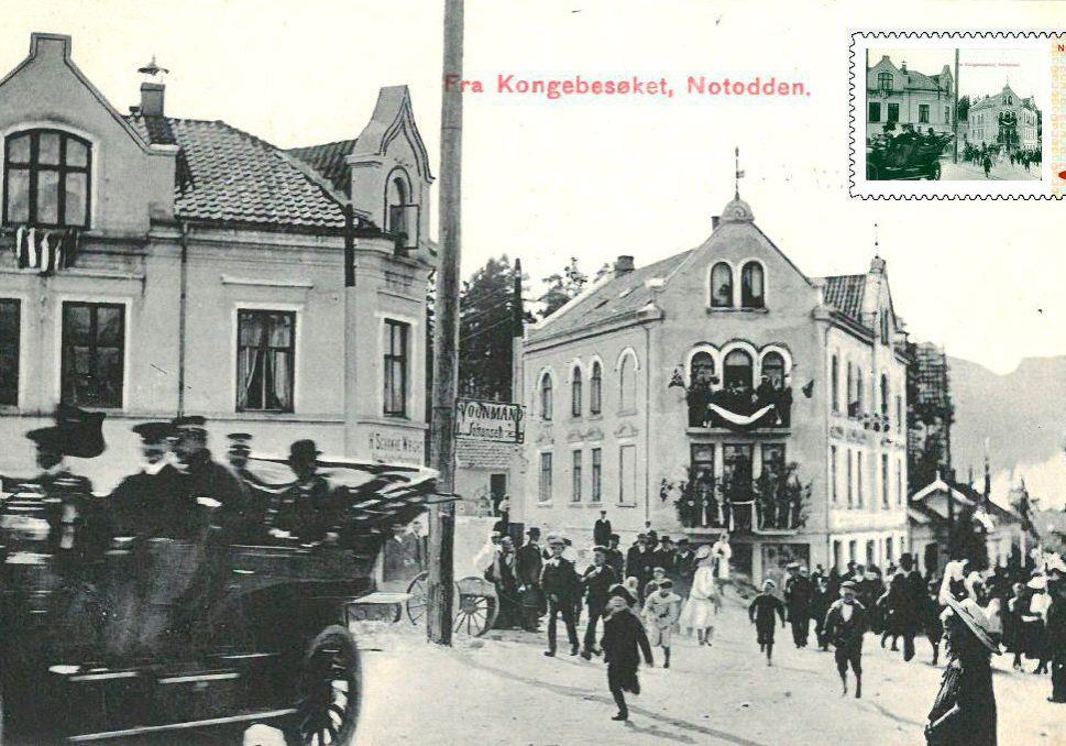 Et postkort utgitt i forbindelse med et av kong Haakons besøk på Notodden