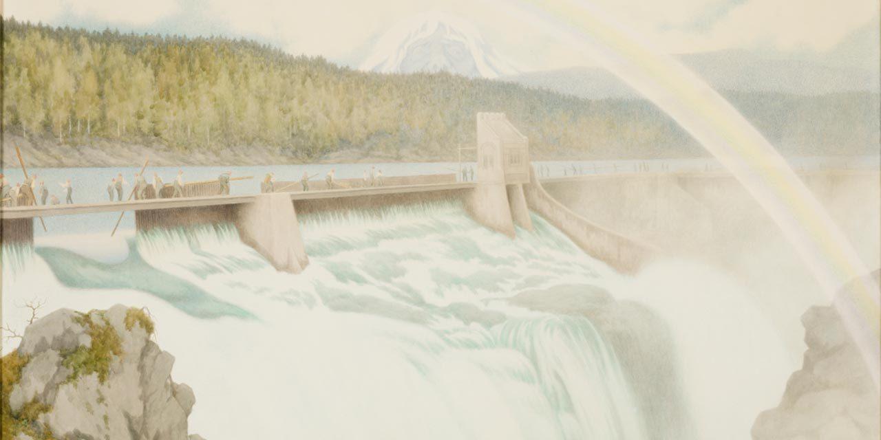 Dammen på Kloumann sjøen 1908 Foto: NIA