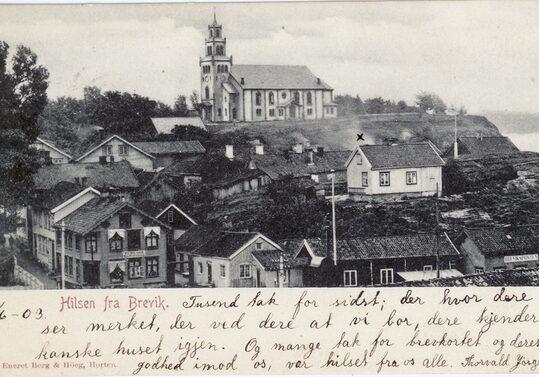 Hilsen fra Brevik 1903, Eneret Berg og Høeg, Horten.