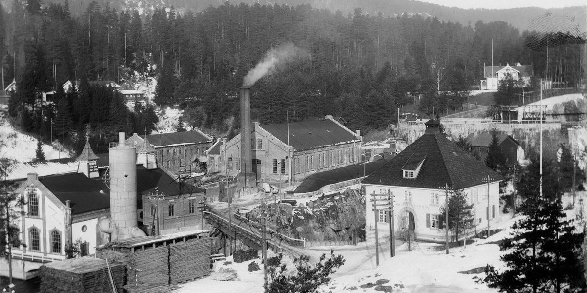 Tinfos Papirfabrikk i 1908
