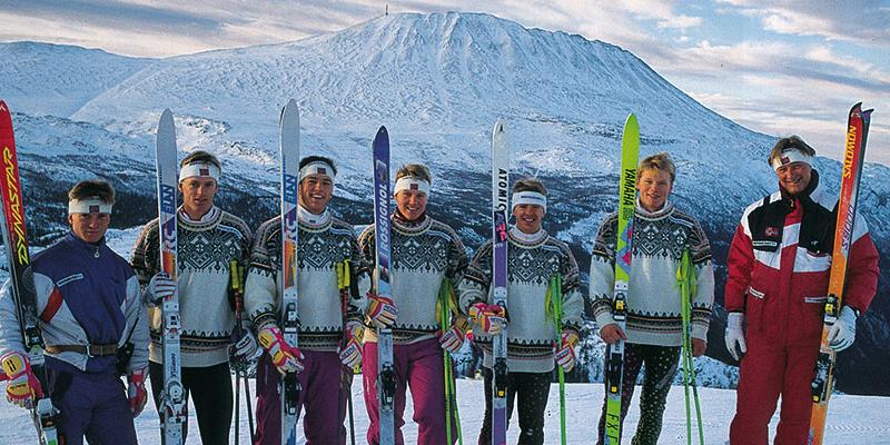 Norske alpiness i bakken ved Gaustablikk en novemberdag i 1992