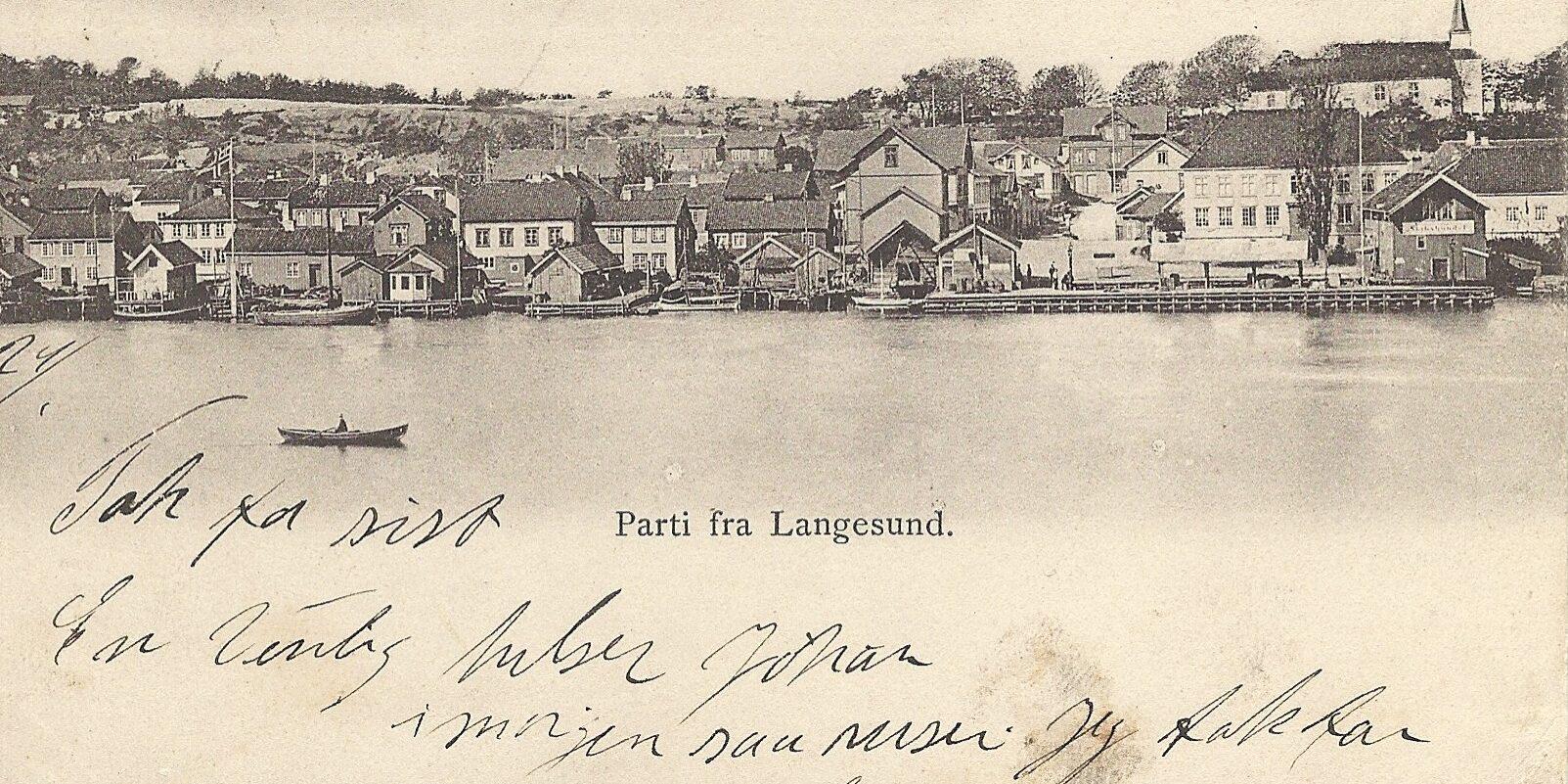 Prospektkort fra Langesund, utgitt av Berg og Høeg 1904, Kristiania.