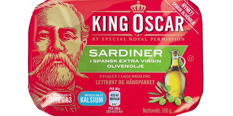 Kong Oscar 2. er vel den eneste kongen som har hatt sitt portrett på sardinbokser. Han ga selv tillatelse i 1902 til bruken av bildet på boksene